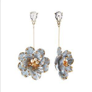 NWT Flower Drop Earrings Light Blue w/ Gold Accent